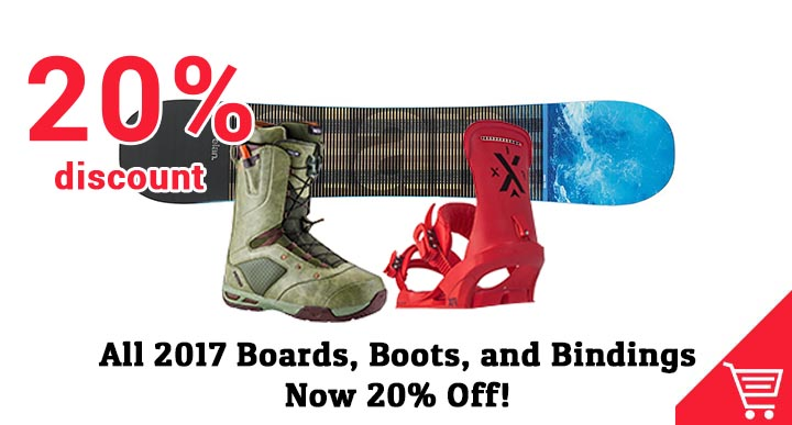 20% off snowboards, boots, bindings